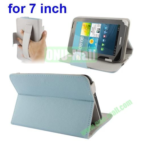 Universal Cross Texture Adjustabe Leather Case for 7 inch Tablet PC with Elastic Hand Strap (Light Blue)