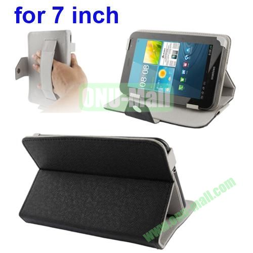 Universal Cross Texture Adjustabe Leather Case for 7 inch Tablet PC with Elastic Hand Strap (Black)