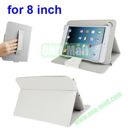 Universal Cross Texture Adjustabe Leather Cover for 8 inch Tablet PC with Elastic Hand Strap (White)