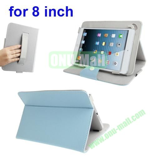 Universal Cross Texture Adjustabe Leather Cover for 8 inch Tablet PC with Elastic Hand Strap (Light Blue)