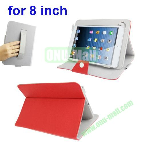 Universal Cross Texture Adjustabe Leather Cover for 8 inch Tablet PC with Elastic Hand Strap (Red)