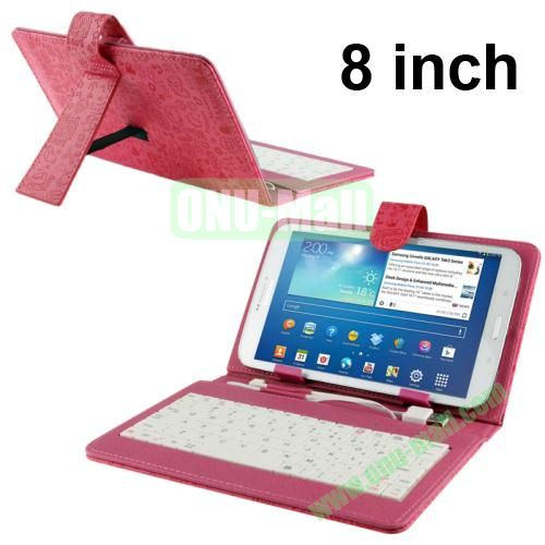 Magic Girl Style Universal Leather Keyboard Case for 8 inch Tablets (Magenta)
