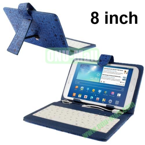 Magic Girl Style Universal Leather Keyboard Case for 8 inch Tablets (Blue)