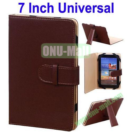 Universal Leather Case for 7 Inch Tablet PC with Holder (Brown)