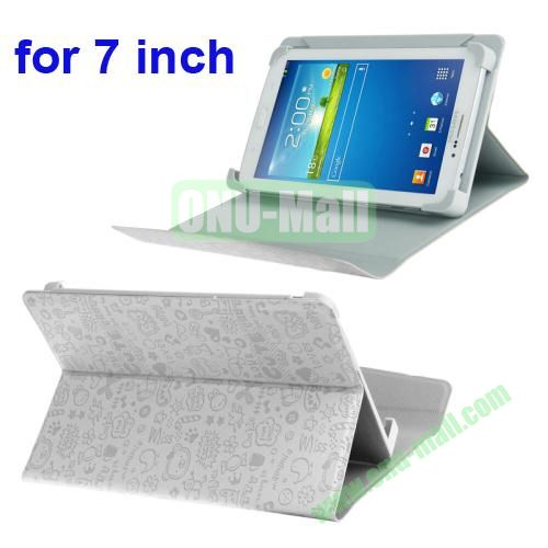 Magic Girl Pattern Universal Leather Case for 7 inch Tablet PC with Holder (White)