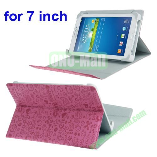 Magic Girl Pattern Universal Leather Case for 7 inch Tablet PC with Holder (Magenta)