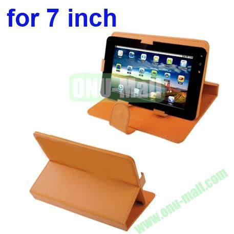 Universal Litchi Texture Leather Case for 7 inch Tablet PC with Holder (Orange)