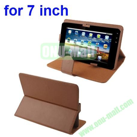 Universal Litchi Texture Leather Case for 7 inch Tablet PC with Holder (Brown)