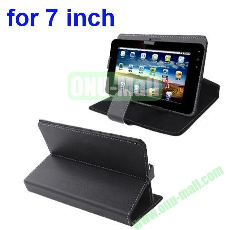 Universal Litchi Texture Leather Case for 7 inch Tablet PC with Holder (Black)
