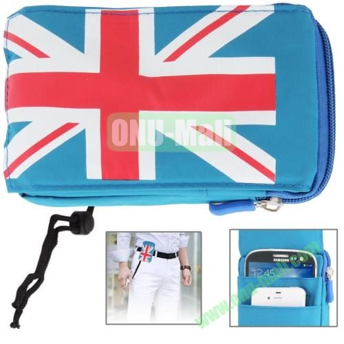 UK Flag Pattern Universal 3-layer Zipper Bag for Samsung Galaxy Note 32, All 5.7 inch Device (Blue)