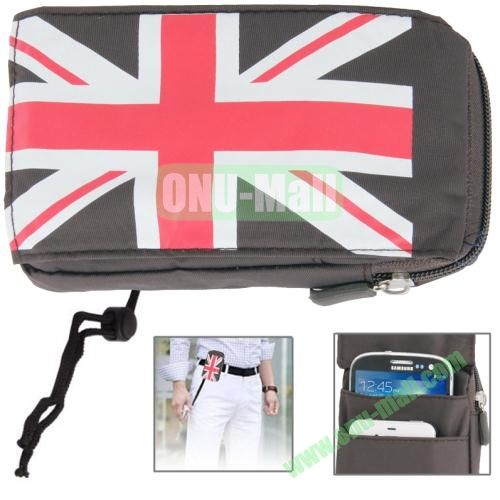UK Flag Pattern Universal 3-layer Zipper Bag for Samsung Galaxy Note 32, All 5.7 inch Device (Grey)