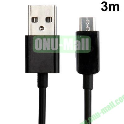 Micro USB to USB Data Cable for Samsung, LG, BlackBerry, HTC, Nokia, Sony, Amazon Kindle, Length: 3m (Black)