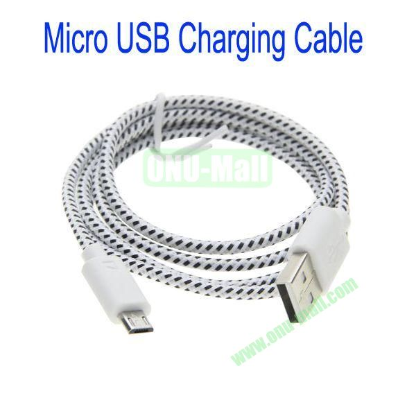 1m High Quality Woven Nylon Fiber Micro USB Sync Data and Charging Cable For Samsung,HTC,Sony,BlackBerry,HUAWEI etc(White)