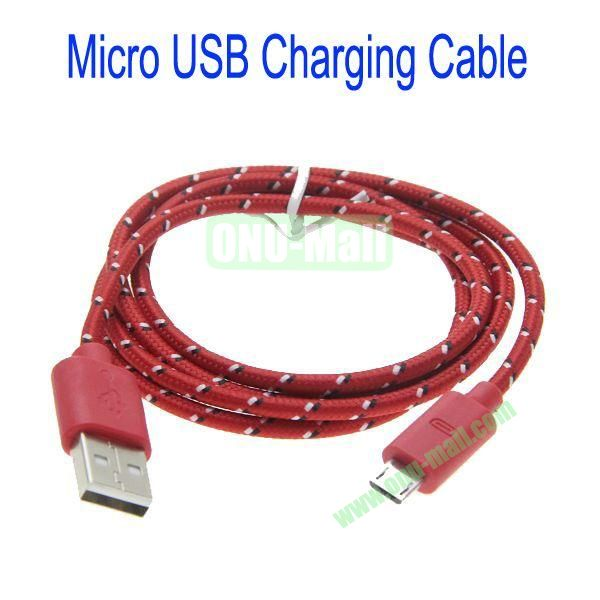 1m High Quality Woven Nylon Fiber Micro USB Sync Data and Charging Cable For Samsung,HTC,Sony,BlackBerry,HUAWEI etc(Red)