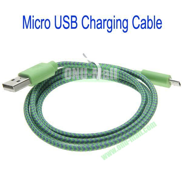 1m High Quality Woven Nylon Fiber Micro USB Sync Data and Charging Cable For Samsung,HTC,Sony,BlackBerry,HUAWEI etc(Dark Green)