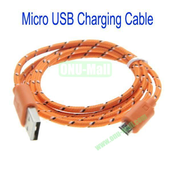 1m High Quality Woven Nylon Fiber Micro USB Sync Data and Charging Cable For Samsung,HTC,Sony,BlackBerry,HUAWEI etc(Orange)