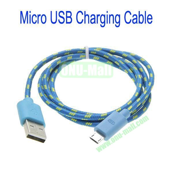 1m High Quality Woven Nylon Fiber Micro USB Sync Data and Charging Cable For Samsung,HTC,Sony,BlackBerry,HUAWEI etc(Blue)