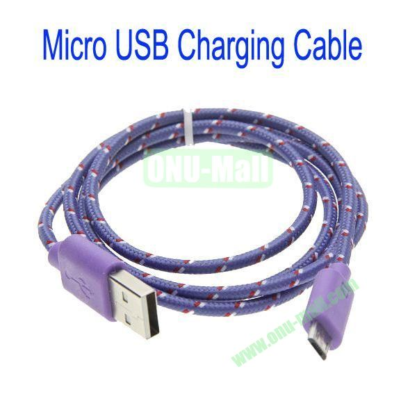 1m High Quality Woven Nylon Fiber Micro USB Sync Data and Charging Cable For Samsung,HTC,Sony,BlackBerry,HUAWEI etc(Purple)