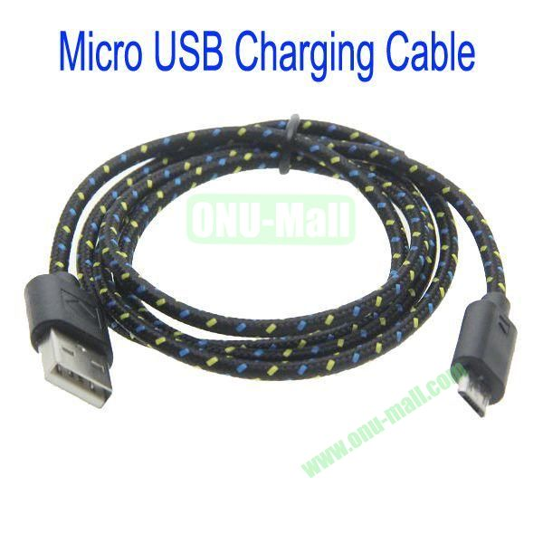 1m High Quality Woven Nylon Fiber Micro USB Sync Data and Charging Cable For Samsung,HTC,Sony,BlackBerry,HUAWEI etc(Black)