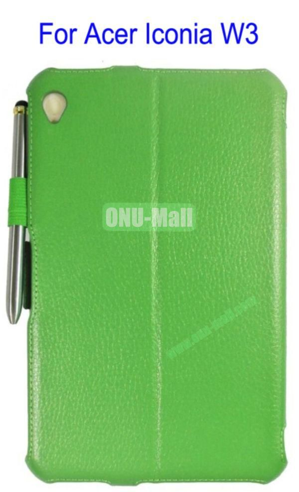 Smart Wake UpSleep Flip Stand Leather Case for Acer Iconia W3 with Pen(Green)