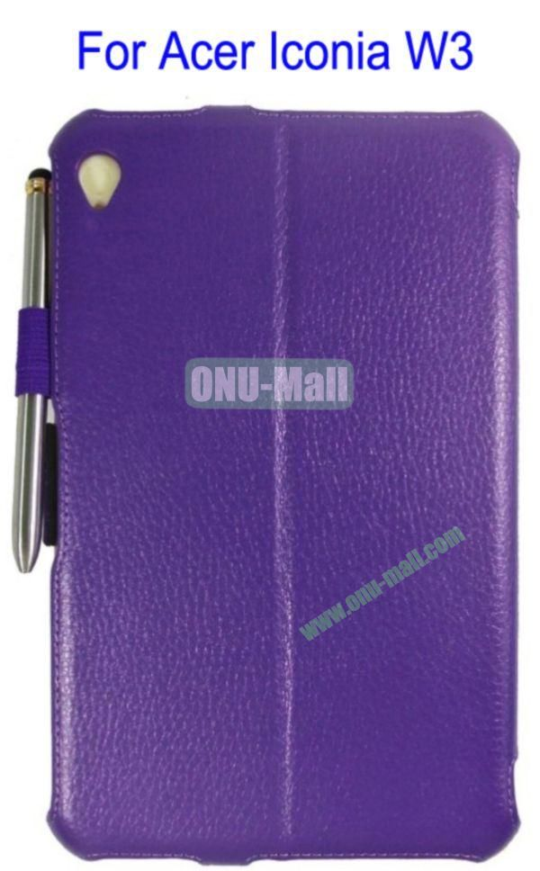 Smart Wake UpSleep Flip Stand Leather Case for Acer Iconia W3 with Pen(Purple)
