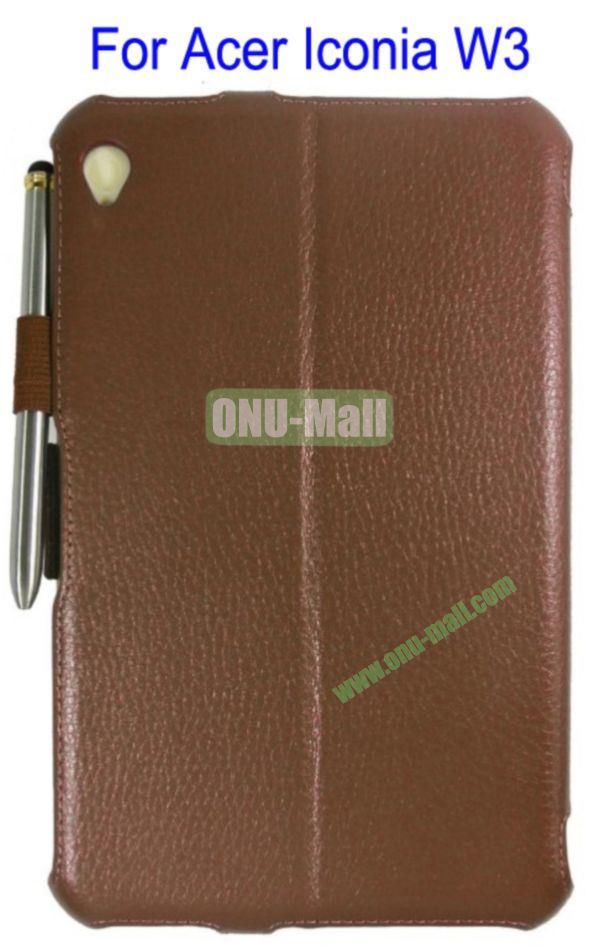 Smart Wake UpSleep Flip Stand Leather Case for Acer Iconia W3 with Pen(Brown)