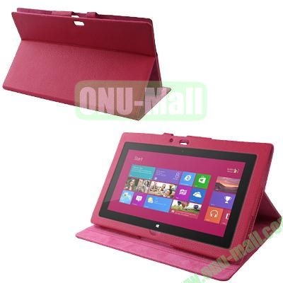 Wholesale Leather Case Cover With Stand For Microsoft Surface RT (Magenta)