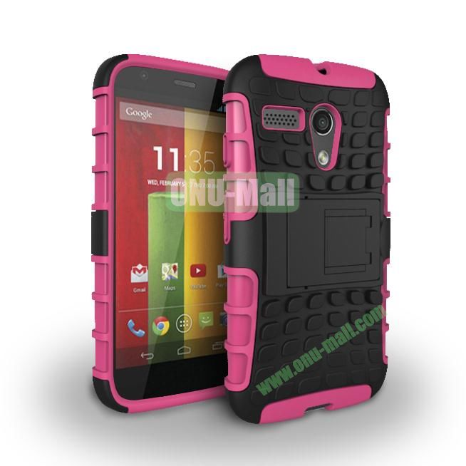 Hybrid PC and TPU Case with Kickstand for Motorola Moto G XT1032 XT1031 (Rose)