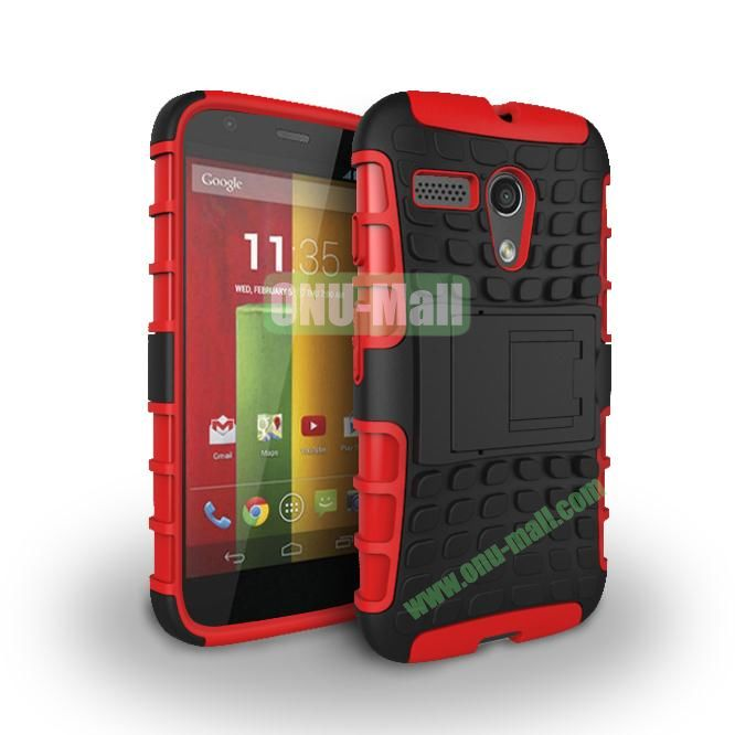 Hybrid PC and TPU Case with Kickstand for Motorola Moto G XT1032 XT1031 (Red)