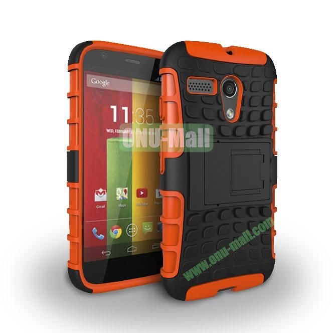 Hybrid PC and TPU Case with Kickstand for Motorola Moto G XT1032 XT1031 (Orange)