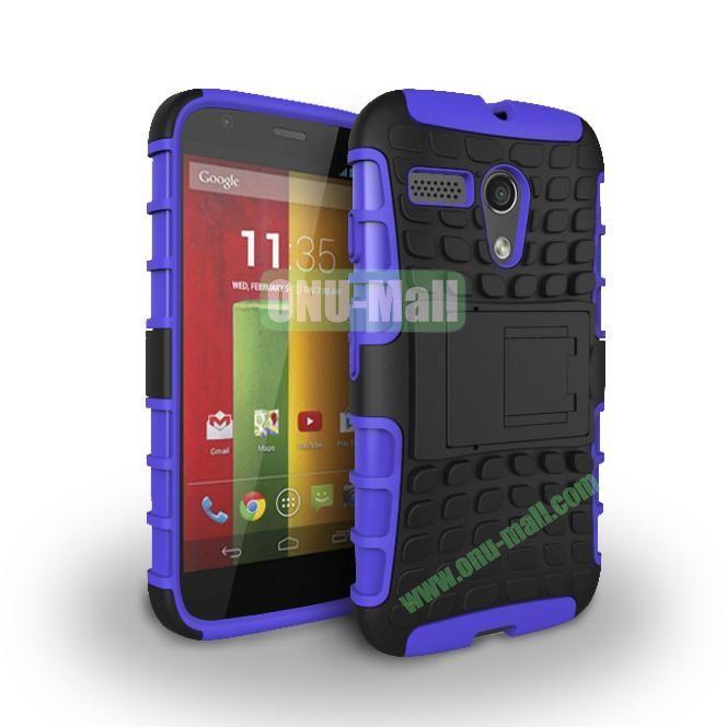 Hybrid PC and TPU Case with Kickstand for Motorola Moto G XT1032 XT1031 (Purple)