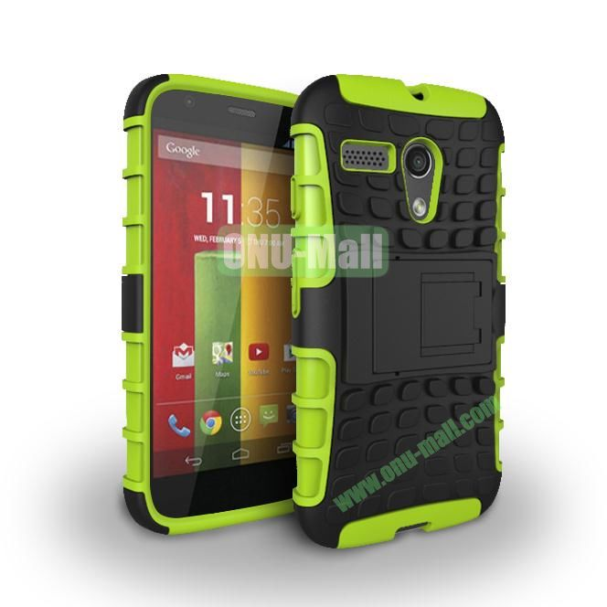 Hybrid PC and TPU Case with Kickstand for Motorola Moto G XT1032 XT1031 (Green)