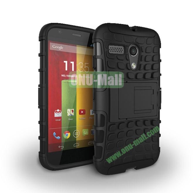 Hybrid PC and TPU Case with Kickstand for Motorola Moto G XT1032 XT1031 (Black)