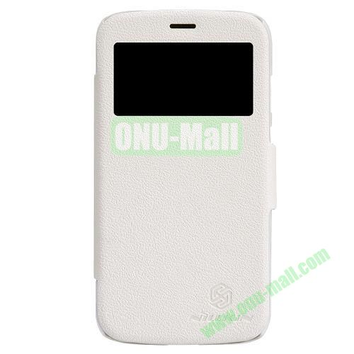 Nillkin Litchi Texture Caller ID Display Window Leather Case for Motorola Moto G  XT1032  XT103 (White)