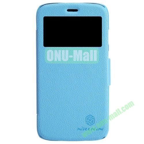 Nillkin Litchi Texture Caller ID Display Window Leather Case for Motorola Moto G  XT1032  XT103 (Light Blue)