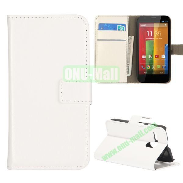 Crazy Horse Texture Flip Stand Leather Case Cover for Motorola G  XT1032  XT1031 with Card Slots (White)