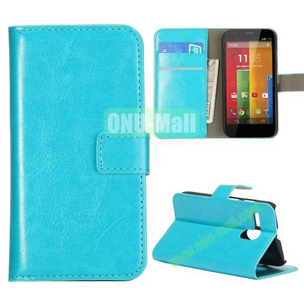 Crazy Horse Texture Flip Stand Leather Case Cover for Motorola G  XT1032  XT1031 with Card Slots (Cyan)