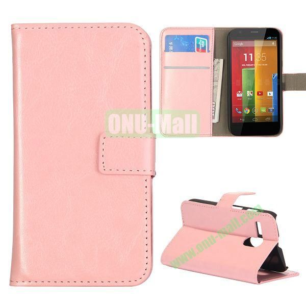 Crazy Horse Texture Flip Stand Leather Case Cover for Motorola G  XT1032  XT1031 with Card Slots (Pink)