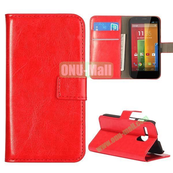 Crazy Horse Texture Flip Stand Leather Case Cover for Motorola G  XT1032  XT1031 with Card Slots (Red)