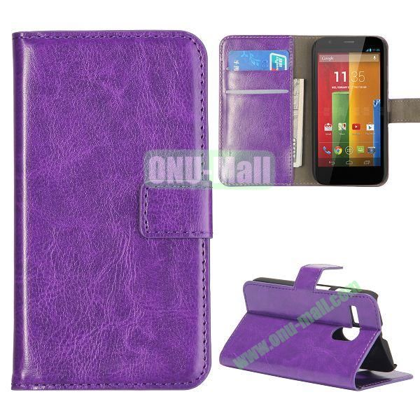 Crazy Horse Texture Flip Stand Leather Case Cover for Motorola G  XT1032  XT1031 with Card Slots (Purple)