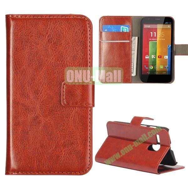 Crazy Horse Texture Flip Stand Leather Case Cover for Motorola G  XT1032  XT1031 with Card Slots (Brown)