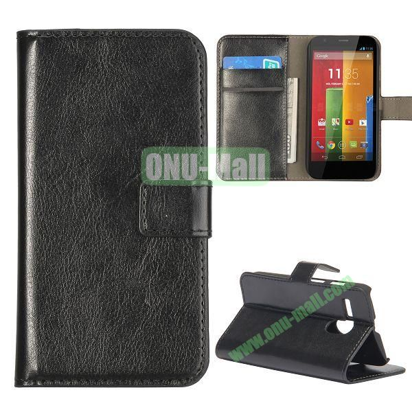Crazy Horse Texture Flip Stand Leather Case Cover for Motorola G  XT1032  XT1031 with Card Slots (Black)