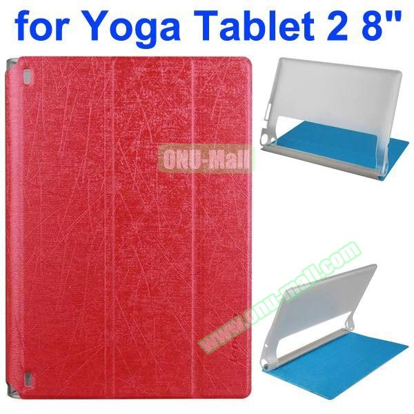 Cantaloupe Texture 3-Folding Flip Stand Transparent PC Hard Back Cover + PU Leather Case for Lenovo Yoga Tablet 2 8 inch (Red)
