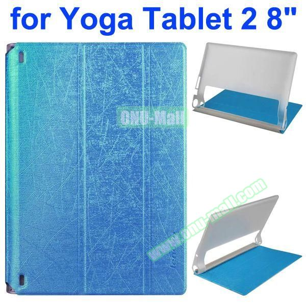 Cantaloupe Texture 3-Folding Flip Stand Transparent PC Hard Back Cover + PU Leather Case for Lenovo Yoga Tablet 2 8 inch (Blue)