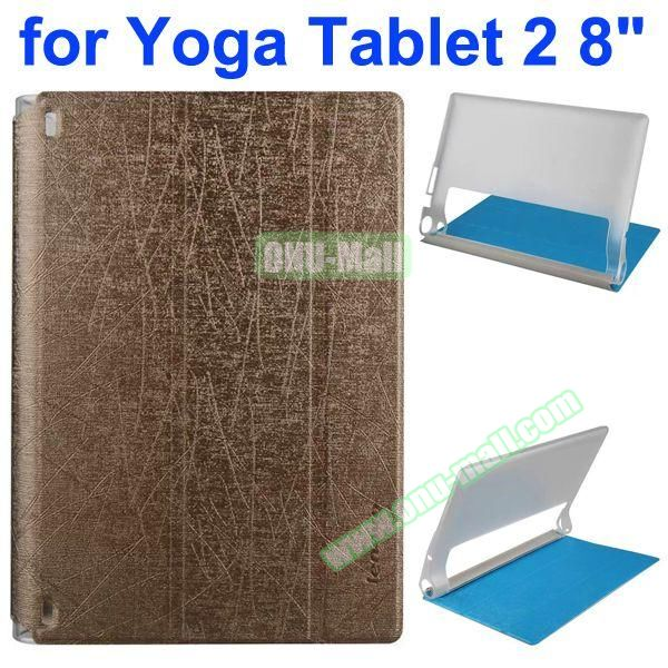 Cantaloupe Texture 3-Folding Flip Stand Transparent PC Hard Back Cover + PU Leather Case for Lenovo Yoga Tablet 2 8 inch (Brown)