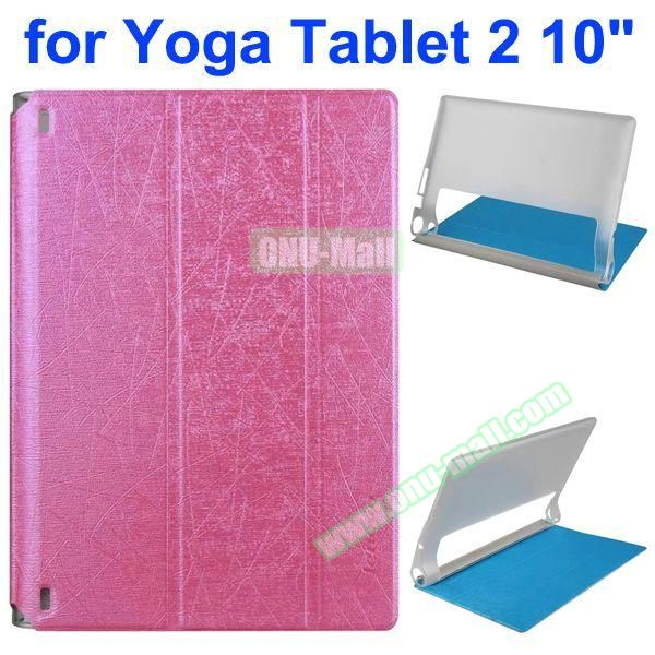 Cantaloupe Texture 3-Folding Flip Stand Transparent PC Hard Back Cover + PU Leather Case for Lenovo Yoga Tablet 2 10.1 inch (Rose)