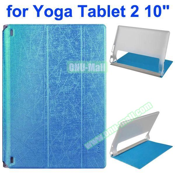 Cantaloupe Texture 3-Folding Flip Stand Transparent PC Hard Back Cover + PU Leather Case for Lenovo Yoga Tablet 2 10.1 inch (Blue)