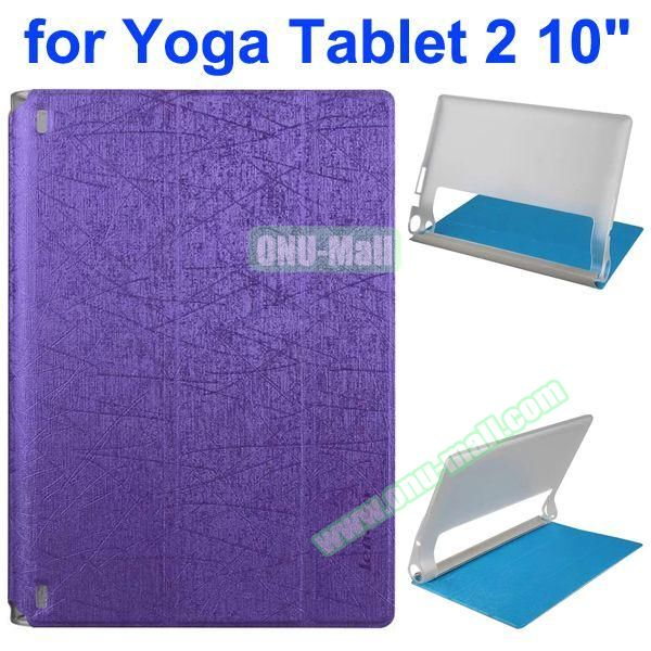 Cantaloupe Texture 3-Folding Flip Stand Transparent PC Hard Back Cover + PU Leather Case for Lenovo Yoga Tablet 2 10.1 inch (Purple)