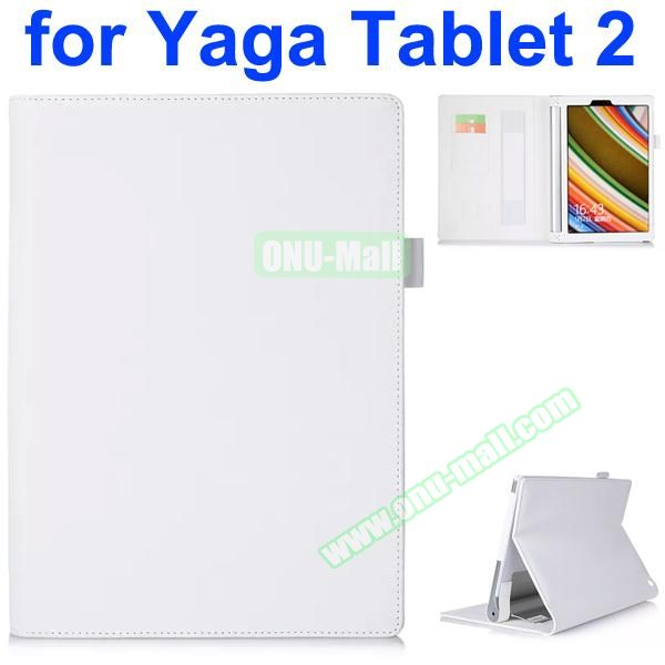 Flip Stand PU Leather Case for Lenovo Yoga Tablet 2 10 inch with Card Slots and Filco (White)