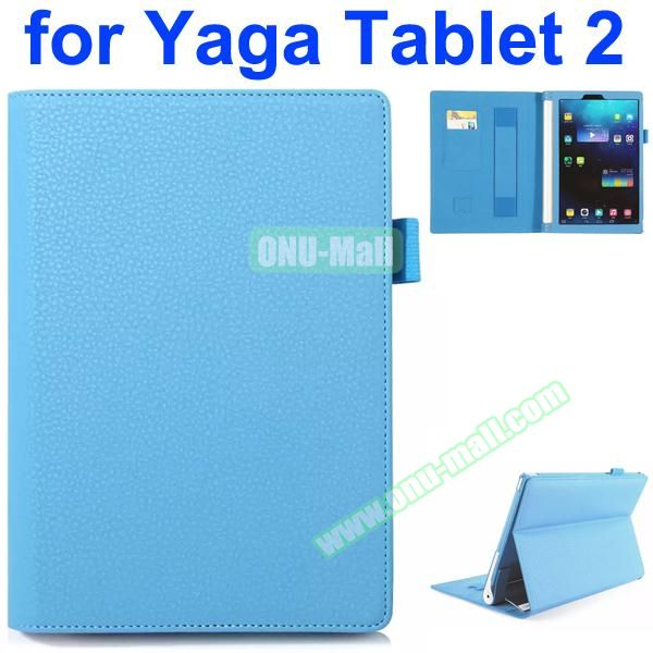 Flip Stand PU Leather Case for Lenovo Yoga Tablet 2 10 inch with Card Slots and Filco (Blue)